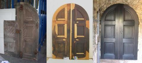 Restaurierung einer denkmalgeschützten Holztür