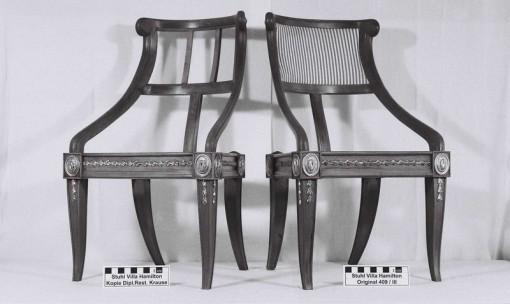 Kopie und Original eines gefertigten Armlehnstuhls